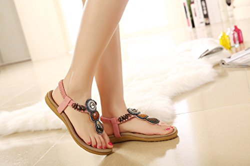 Bohemian Women's Sandal DQQ Gemstone Pink Thong 8UFZnxqTw