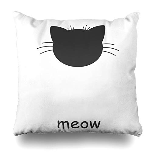 (Ahawoso Throw Pillow Cover Brown Face Cat Graphics Black Whitecute Heart Graphicvect White Cute Pattern Abstract Mask Design Decor Zippered Cushion Case 18