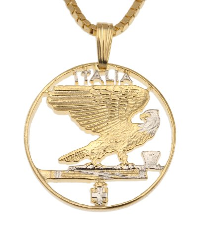 Italian Coin Pendant & Necklace, Italy 50 Centisimi Hand Cut (Out Eagle Cut Pendant)