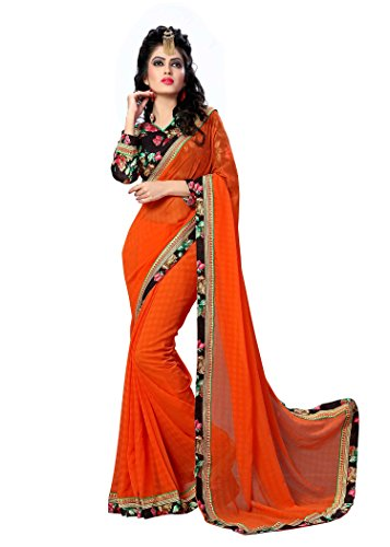 Oomph! Chiffon Sarees for Women Party Wear – Tiger Orange