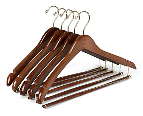 (Quality Hangers 10 Curved Wooden Hangers Beautiful Sturdy Suit Coat Hangers with Locking Bar Gold Hooks Walnut Finish)