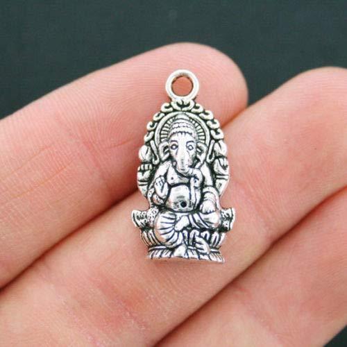 Unique Designer Jewelry 6 Ganesha Charms Antique Silver Tone Hindu God of Wisdom - SC2400 for Your Pendants, Earrings, Zipper pulls, Key ()