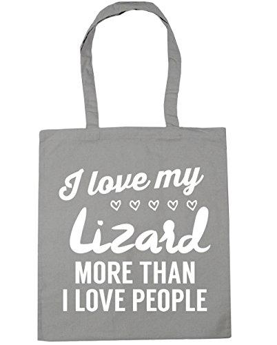 HippoWarehouse I Love My Lagarto más de I Love People Tote Compras Bolsa de playa 42cm x38cm, 10litros gris claro