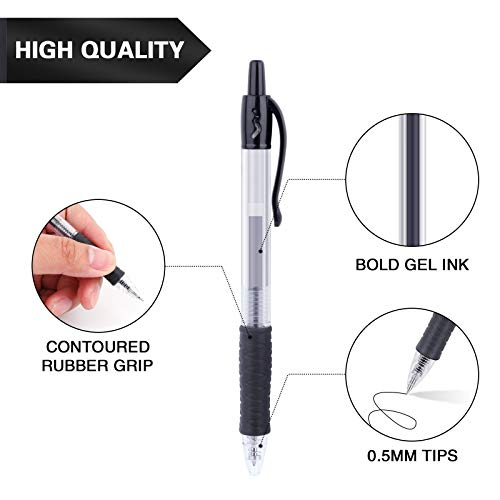 Black Gel Pens, Tanmit Retractable Roll Ball Gel Pen, 30 Black Pens Fine Point With Comfortable Grips for Smooth Writing