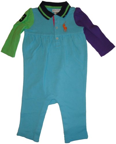 RALPH LAUREN Infant Girl's Polo Long Sleeve Mesh Coverall Baby Romper Blue Multicolor (6 Months)