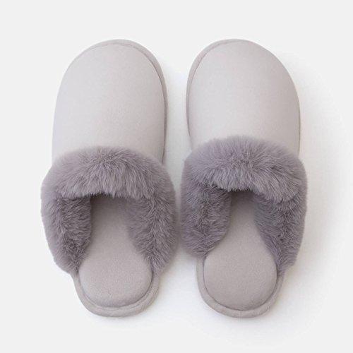 LaxBa Femmes Hommes chauds dhiver Chaussons peluche antiglisse intérieur Cotton-Padded gris clair Chaussures Slipper36-37 mètres [adapté à 35-36 mètres pieds porter]