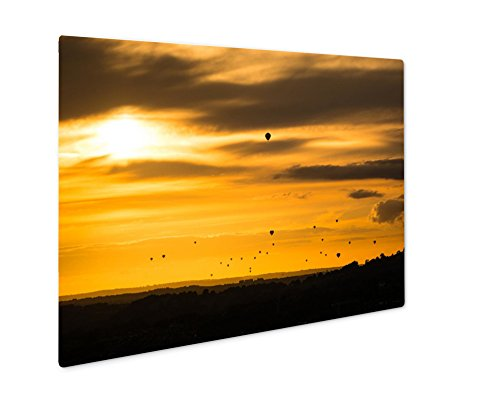 Ashley Giclee Metal Panel Print, Fleet Of Hot Air Balloons In Front Of Sunset Mass Launch At Annual Bristol, 8x10, - Bristol Sunset Times