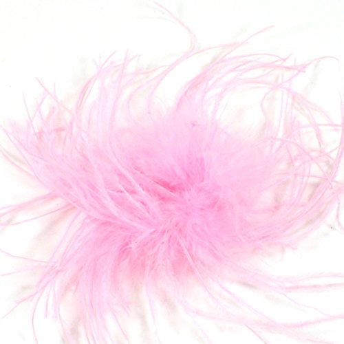 Ostrich Puff Feather Hair Bow Clip (Light Pink)