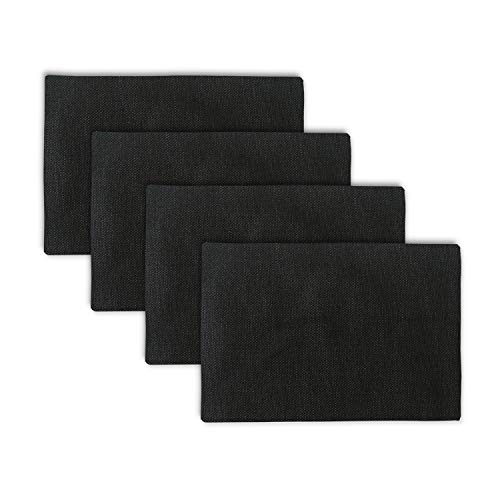 NATUS WEAVER Set of 4 Placemats Heat Resistant Dining Table Place Mats Kitchen Table Mats, Black