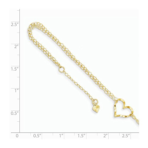 Ankle Bracelet Charm Foot Jewelry ICE CARATS 14kt Yellow Gold Double Strand Heart 9 10 Adjustable Chain Plus Size Extender Anklet Ankle Beach Bracelet Fine Jewelry Ideal Gifts For Women Gift Set