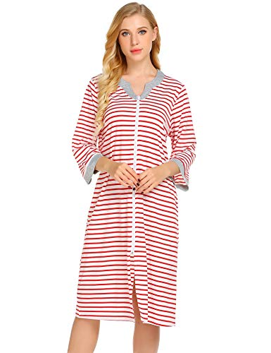 - Ekouaer Striped Robe, Zipped Fron Nightgown for Women Contrast Nightshirt Sleepwear with Pocket,Blue,X-Large