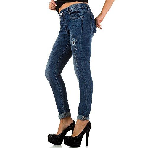 Mozzaar Destroyed Low Skinny Jeans Für Damen , Blau In Gr. S bei Ital-Design