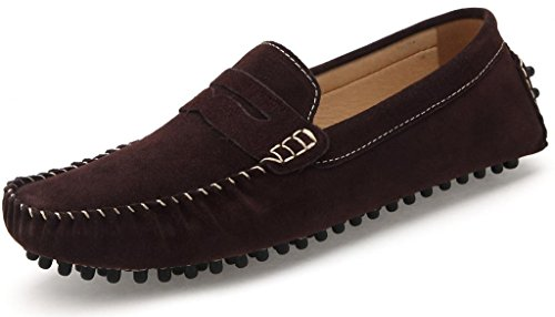 Penny Leather Brown Shoes Moccasin On Shoes Slip Suede Men's SUNROLAN Driving Loafers Dress 6UpwE06q