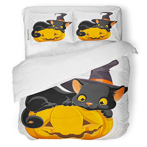 SanChic Duvet Cover Set Cat of Halloween Kitten are Lying Happily Decorative Bedding Set with 2 Pillow Cases Full/Queen Size]()