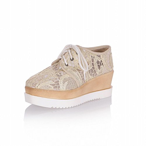 Latasa Dames Elegant Chic Lace Lace Up Platform Oxfords Schoenen, Wedges Schoenen Abrikoos