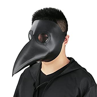 plague doctor mask birds long nose beak faux leather steampunk halloween costume props - Costume Props