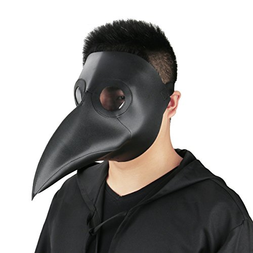 Plague Doctor Mask Birds Long Nose Beak Faux Leather Steampunk Halloween Costume Props (Black)