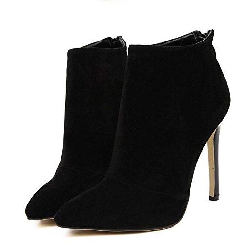 Rojo Tobillo L Tacones yc Negro Black Las Botas Brillante Punteadas Simple De Cremallera Mujeres Altos nnO7rxPW