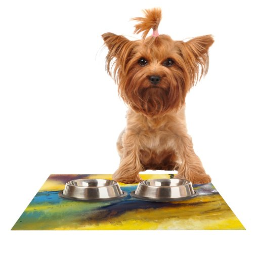 KESS InHouse Josh Serafin Sano  Yellow Surf Feeding Mat for Pet Bowl, 18 by 13-Inch