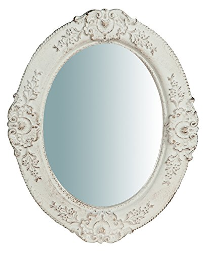 W32xDP2,5XH26 cm Sized Made in Italy Wood Made Antiqued White Finish Wall Mirror Horizontal/Vertical ()