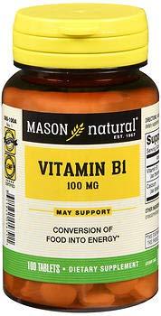 Mason Natural B-1 100 mg - 100 Tablets, Pack of 6 by Mason Natural