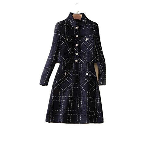 (Dresses 2 Piece Set Womens Plaid Tweed Woolen Jacket and Tank Dress)