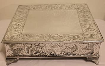 16 inch silver square wedding cake stand plateau