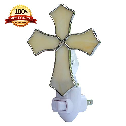 Plug in Night Light by WORUIJIA Stained Glass Religion Cross Night Light for Mom,Kids,Birthday,Christmas Baptism Gifts(Beige) ()