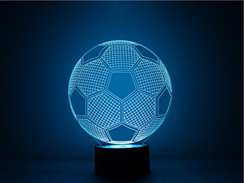 3D Soccer Ball Light Amazing Optical Illusion Night Lighting Lamps, Multi-Color Change USB Touch Button LED Lighting Toys Decor Desk Lamp Table lamps by Threetoo