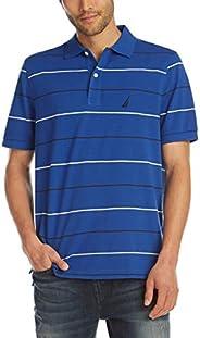 Nautica Men's Classic Fit Short Sleeve 100% Cotton Pique Stripe Polo S