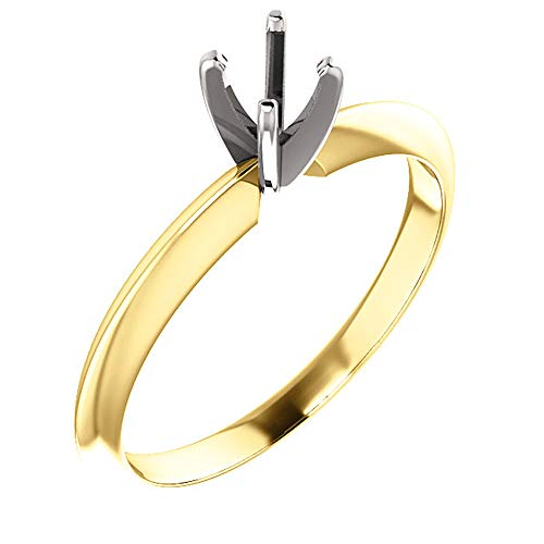 Knife Edge Solitaire Setting - Duhaas 14K Yellow & White Gold 4.0-4.1 mm 1/4 CT Round 4 Prong Standard Weight Solitaire Engagement Ring Mounting Size 6