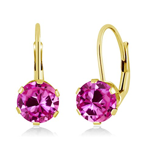 Gem Stone King 2.00 Ct Round Pink Created Sapphire 14K Yellow Gold Earrings