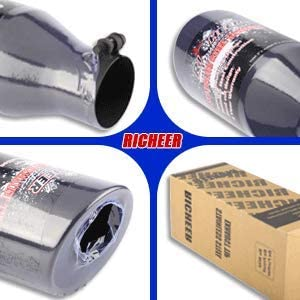 4 Inlet Black Exhaust Tip 4 x 6 x 12 Clamp On Design Universal Stainless Steel Diesel Exhaust Tailpipe Tip with Ball End L Wrench