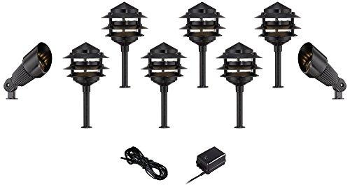 Pagoda Black 10-Piece Outdoor LED Landscape Lighting Set