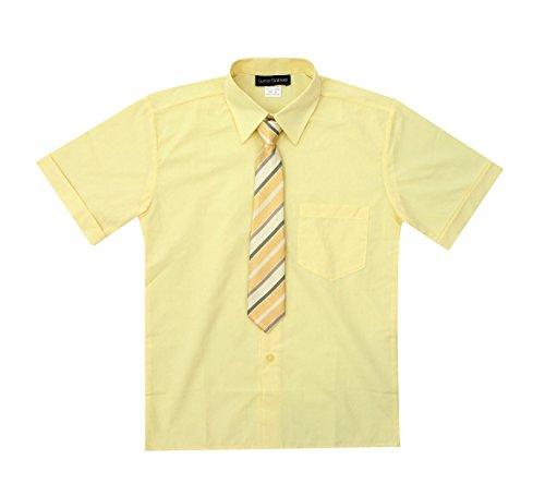 - Luca Gabriel Toddler Boy's Short Sleeve Formal Button Down Dress Shirt & Tie Set - Banana Size 5