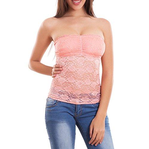 Toocool-Camiseta para mujer, diseño de cinta de encaje de top tubo bandeau Camiseta nueva 2245-MOD Rosa