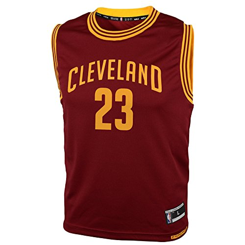 - NBA Youth 8-20 Cleveland Cavaliers JAMES Replica Road Jersey-Burgundy-M(10-12)