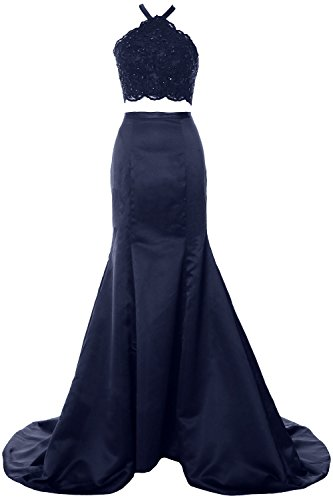 MACloth Gorgeous Mermaid 2 Piece Long Prom Dress Halter Lace Formal ...