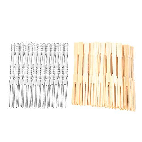 100pcs 3.5 inch Bamboo Fork Mini Food Picks Skewer + 80pcs 4 inch Disposable Plastic Fruit Forks for Appetizers, Cocktail,Cake Dessert,Buffet/Kids Birthday -
