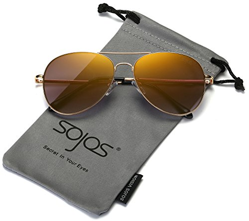 SojoS Classic Aviator Metal Frame Mirror Lens Sunglasses with Spring Hinges SJ1030 With Gold Frame/Gold Lens