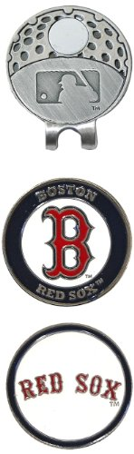 Team Golf MLB Boston Red Sox Golf Cap Clip with 2 Removable Double-Sided Enamel Magnetic Ball Markers, Attaches Easily to Hats