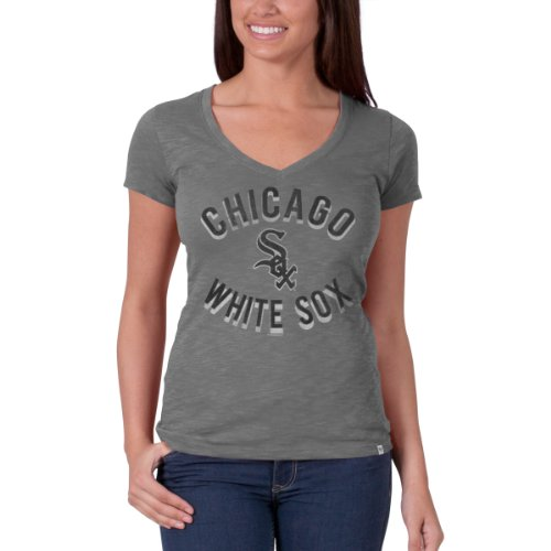 fan products of MLB Chicago White Sox Women's V-Neck Scrum Tee, Large, Wolf Grey