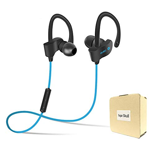 Wireless Bluetooth Headset Headphones Super Magnetic Neckband Noise Cancelling with Microphone for S4 Sport Running Universal 4.1 Clear Loud in-Ear Earphones - Blue by Sugar Skull