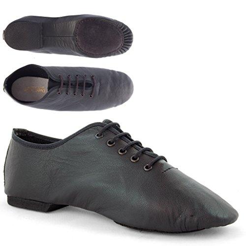 Dance Gear 2JSS Leather Split Sole Jazz Shoes Black T9a3GuIxuJ