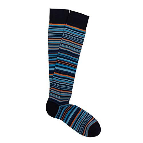 Marcoliani Milano Mens Over The Calf Sorrento Stripe Pima Cotton Socks, Breeze Blue, One Size Fits Most