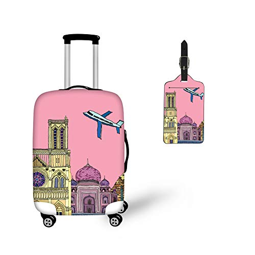 (BIGCARJOB Pink Trendy Suitcase Protector Tsa Approved Covers Women Ladies Luggage Sets 2pcs Sets with PU Leather Luggage Tags)