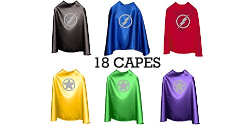 Superfly Kids Superhero Cape With Printed Emblem Set Of 18 (Lightning Bolts)