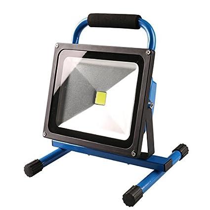 SAILUN 50W Kaltweiß Blau LED Mit Akku Baustrahler Fluter Handlampen Flutlicht Arbeitsleuchte Tragbar wiederaufladbare Fluter IP65 (50W Kaltweiß)