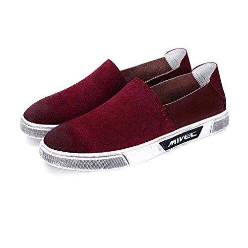 ZXCV Zapatos al aire libre Los zapatos ocasionales de los hombres calzan los zapatos europeos transpirables de los hombres de la tendencia de la manera Vino rojo