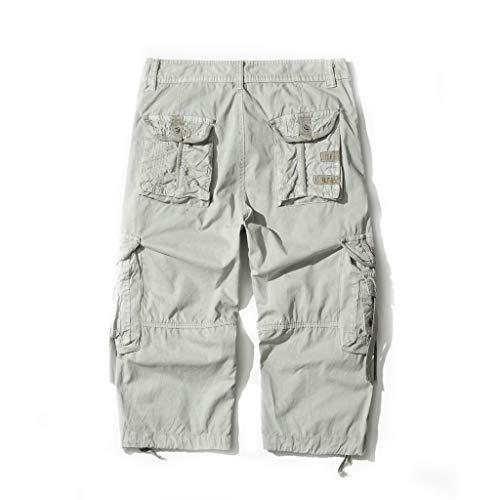 AOYOG Mens Cargo Shorts 3//4 Relaxed Fit Below Knee Capri Cargo Short Cotton